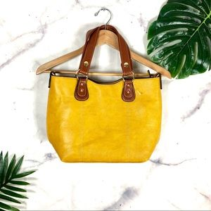 Handbags - NWOT Mustard Yellow Vegan Leather Tote Bag